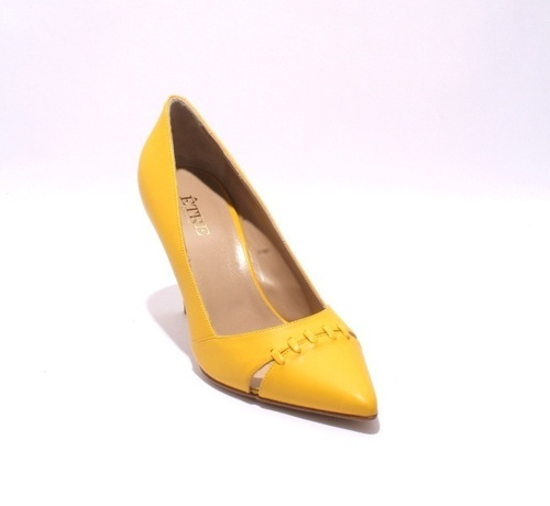 Yellow / Cutouts / Pointy-Toe Leather Heel Pumps