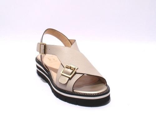 Beige / Bronze Leather Strappy Platform Sandals