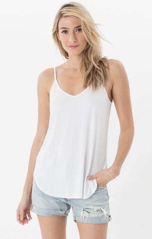 Strappy Sleek Tank White