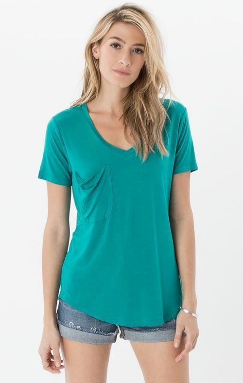Aqua Green Sleek Jersey Pocket Tee