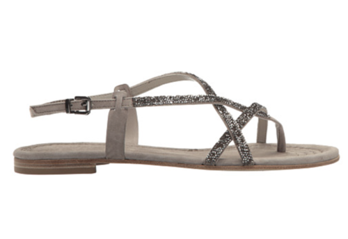 Suede and Crystal Sandal