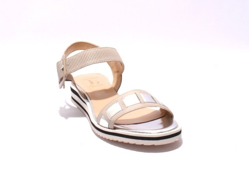 Beige / Silver Leather Strappy Platform Sandals