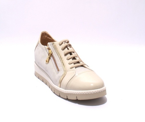 Beige / Gold Patent Leather Suede Zip Sneaker Shoes