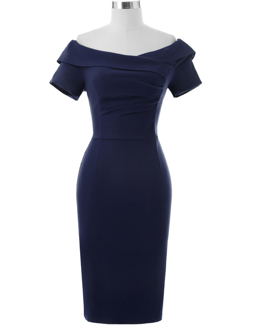 Selma Dress in Navy Bengaline