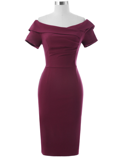 Selma dress in Burgundy Bengaline
