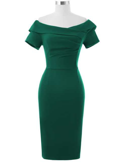 Selma dress in Green Bengaline