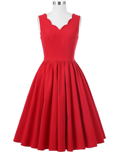 Adelaide Dress in Red Bengaline