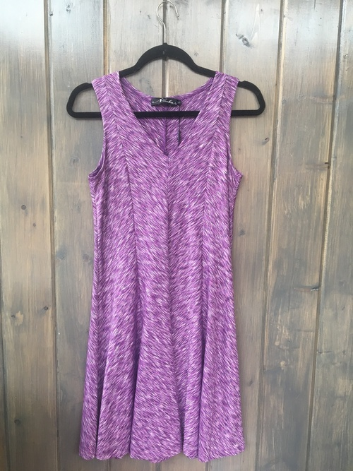 V Neck Space Dye Purple Dress