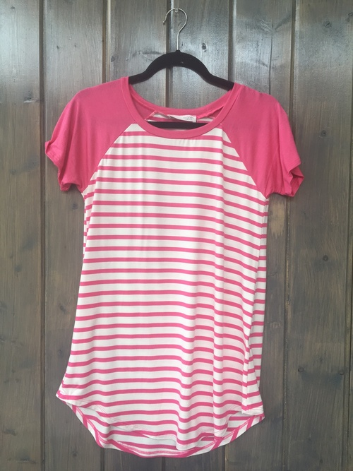 Striped Baseball Tee Fuchsia