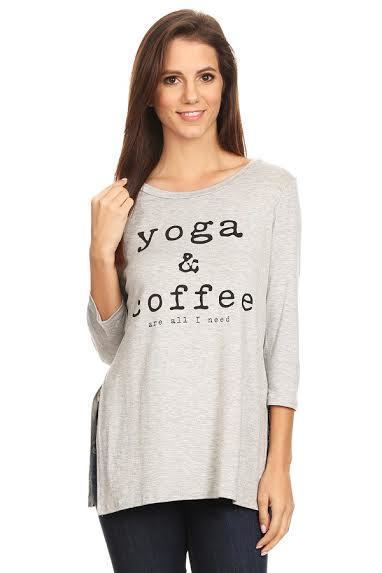 Yoga & Coffee 3/4 Sleeve Top