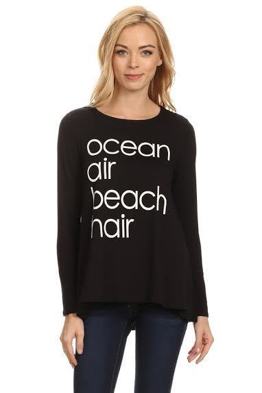 Ocean Air Beach Hair Long Sleeve Top