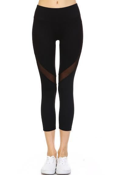 Mesh Panel Capri Athletic Leggings