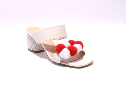 b02baa8081e2 White   Red Leather Strappy Pom Pom Slides Sandals