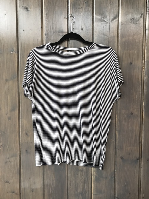 Cut Back Short Sleeve Striped Dolman Tee