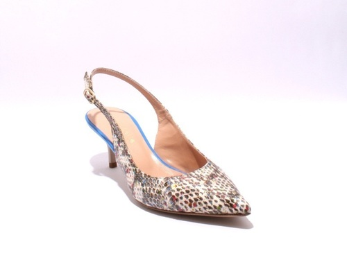 Multi Color / Navy Leather Slingbacks Pointy Pumps
