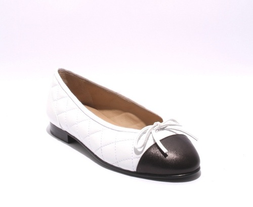 White / Black Stitched Quilted Leather Padded Insole Flats