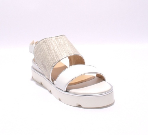 White / Silver Leather / Nubuck Flats Wedge Sandals