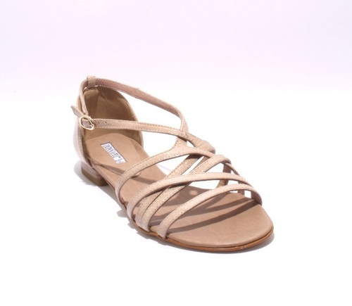 Taupe Patent Leather Flats Sandals