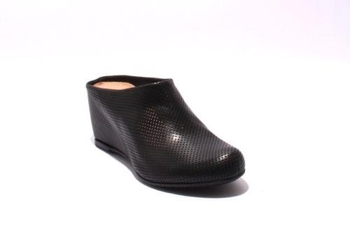 Black Leather Comfort Slides Wedge Mules Sandals