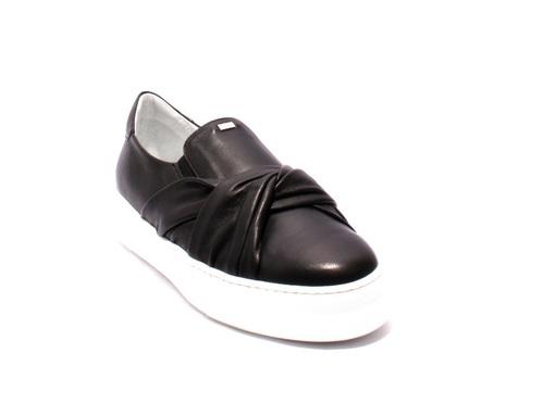 Black Leather Loafers Slip-On Platform Shoes