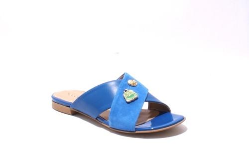 Blue Leather / Suede Slides Sandals Flats