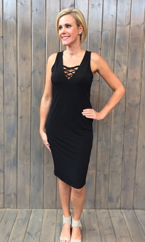 Black Ity Criss Cross Midi Dress
