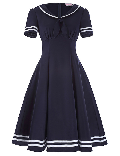 Shirley Sailor Dress in Navy