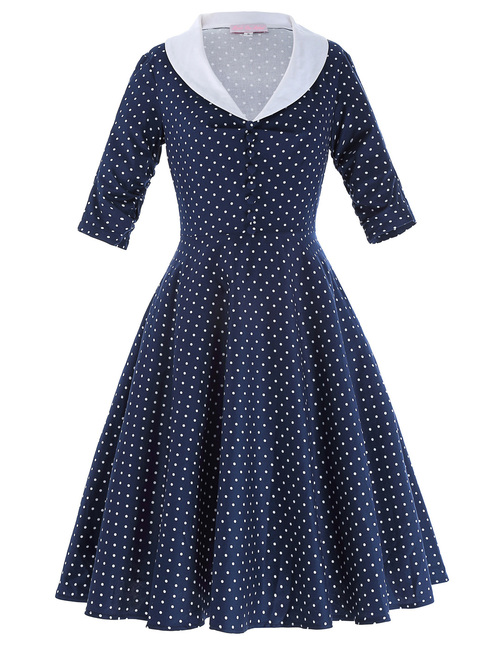 Loretta Dress in Navy Polka dot
