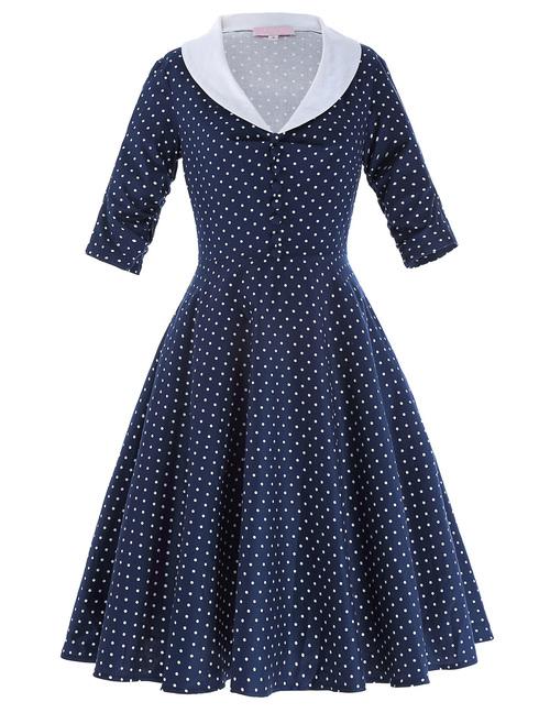 Loretta Dress in Navy Polka dot