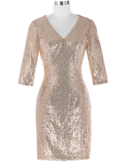 Tina Dress in Cream sequin