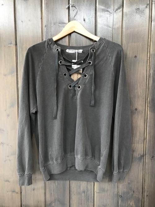 Lace Up Heathered Black Sweatshirt
