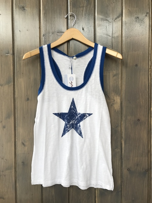 The Americana Ringer Tank Nautical Blue
