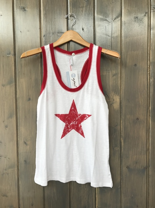The Americana Ringer Tank Jester Red