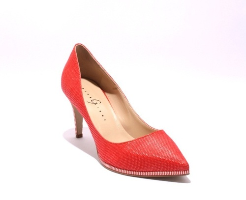 Red / White Fabric / Leather Pointy Heel Pumps