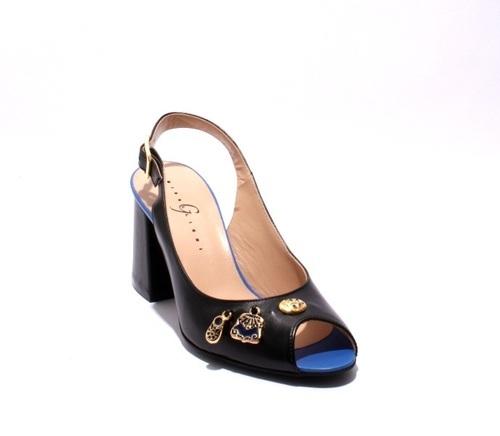 Black / Blue Leather Slingbacks Heel Sandals