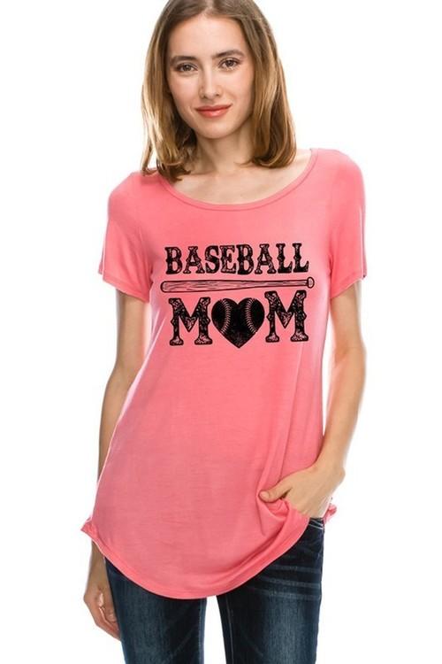 Baseball Mom Coral Tee