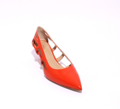 Orange / Side Cutouts / Pointy-Toe Leather Pumps
