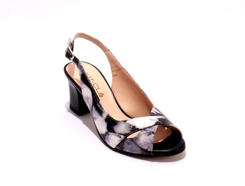 Multi Color Patent Leather Chunky Heel Sandals