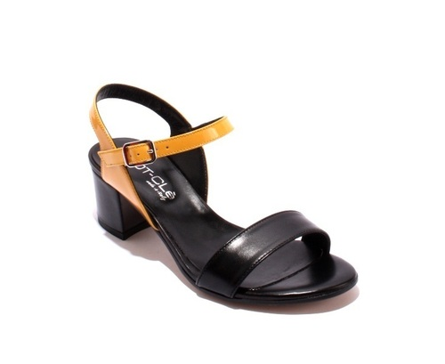 Black / Yellow Leather / Patent Leather Ankle Strap Sandals