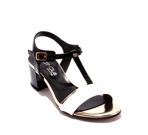 cb1d46054991 Black   White   Gold Leather   Patent Leather T-Strap Sandals
