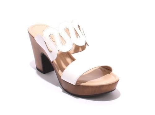 White Leather Strappy Platform Slides Sandals