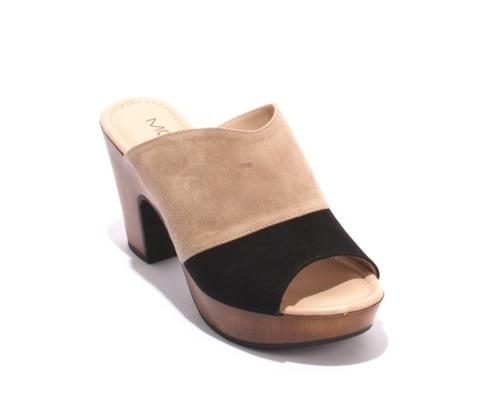 Black / Beige Suede Platform Slides Sandals