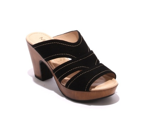 Black Suede Strappy Platform Slides Sandals