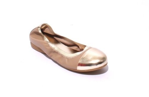 Beige / Gold Soft Leather Comfortable Ballet Flats
