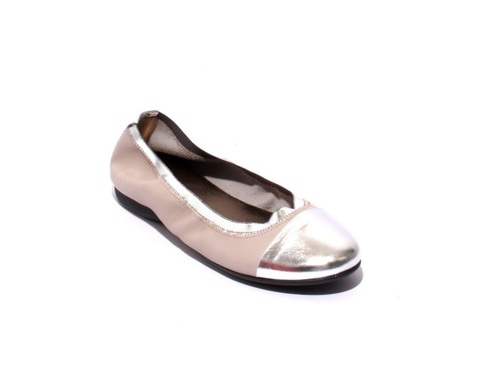 Gray / Silver Soft Leather Comfortable Ballet Flats
