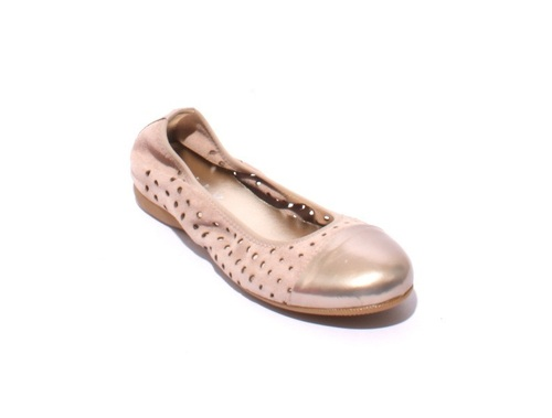 Beige / Gold Soft Suede / Leather Comfortable Ballet Flats