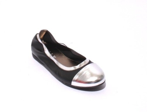 Black / Silver Soft Leather Comfortable Ballet Flats