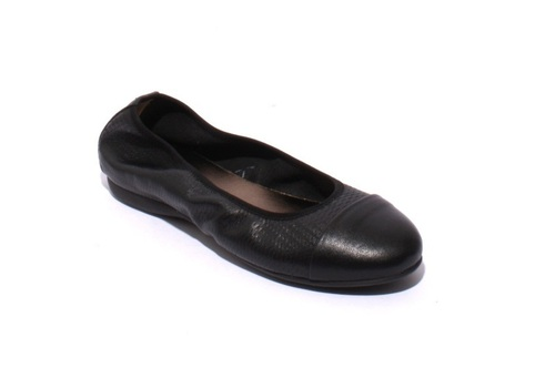 Black Soft Perforated Leather Comfortable Ballet Flats