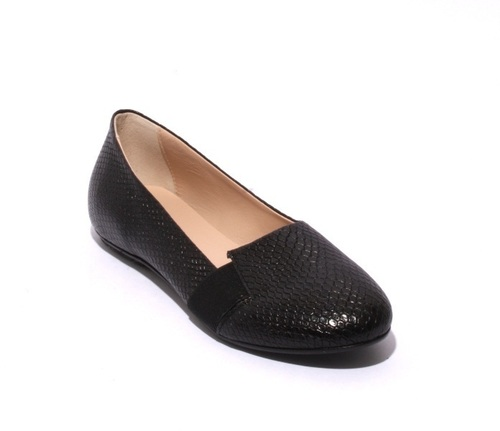 Black Leather / Elastic Comfortable Flats Shoes