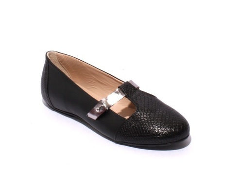 Black Silver Leather Comfortable Flats Shoes